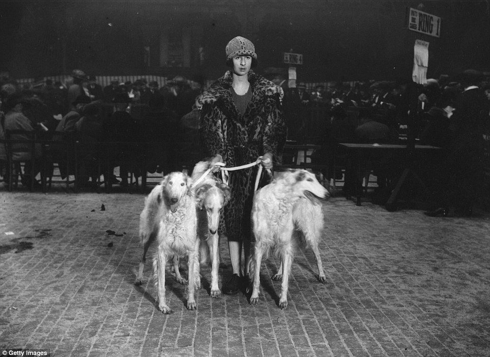 vintage lady with dogs