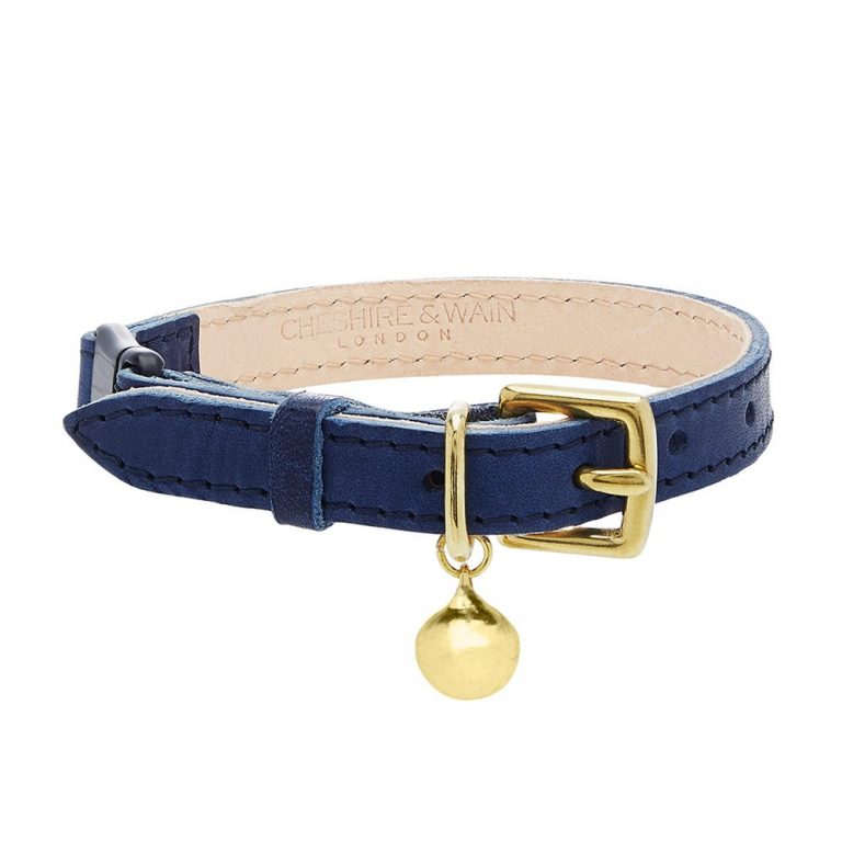 cheshire and wain Black-Luxury-Cat-Collar-blue leather
