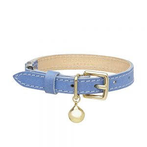 Cheshire-Wain-BLUE-leather-cat-luxury cat COLLAR