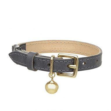 Cheshire-Wain-GREY-leather-luxury-cat-COLLAR