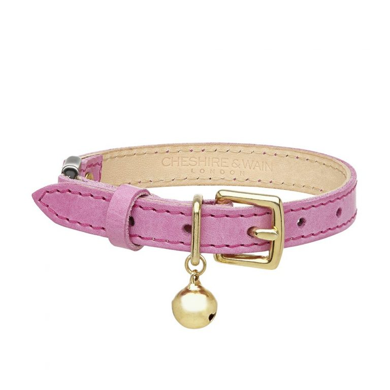 Cheshire-Wain-PINK-leather-cat-luxury cat COLLAR