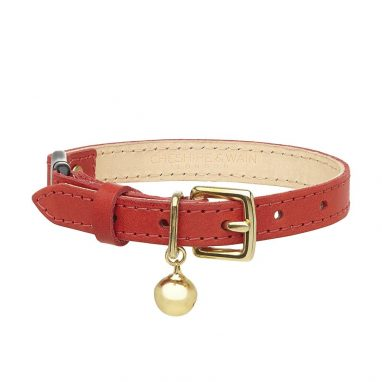 Cheshire-Wain-luxury-RED-leather-cat-luxury cat COLLAR
